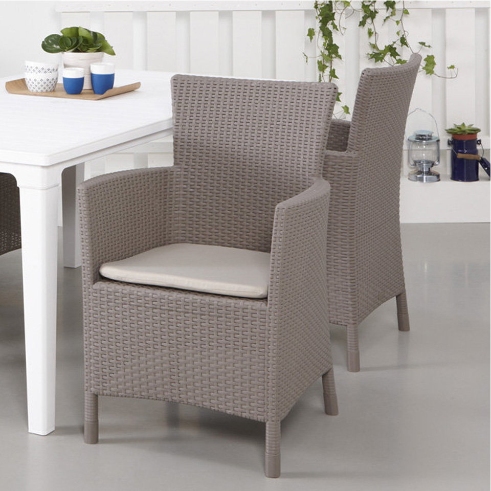 Allibert Iowa Cappuccino Rattan Dining Chair & Cushion