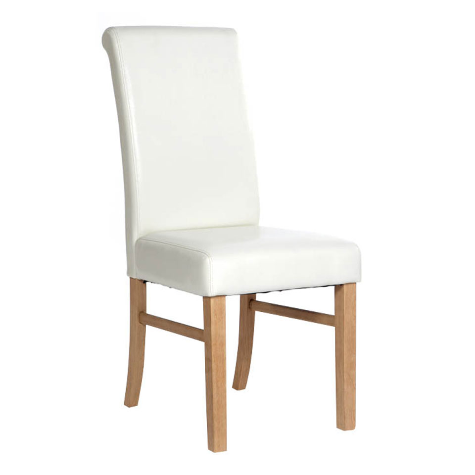 Pair of Cortez Upholstered Ivory Faux Leather Pine Chairs