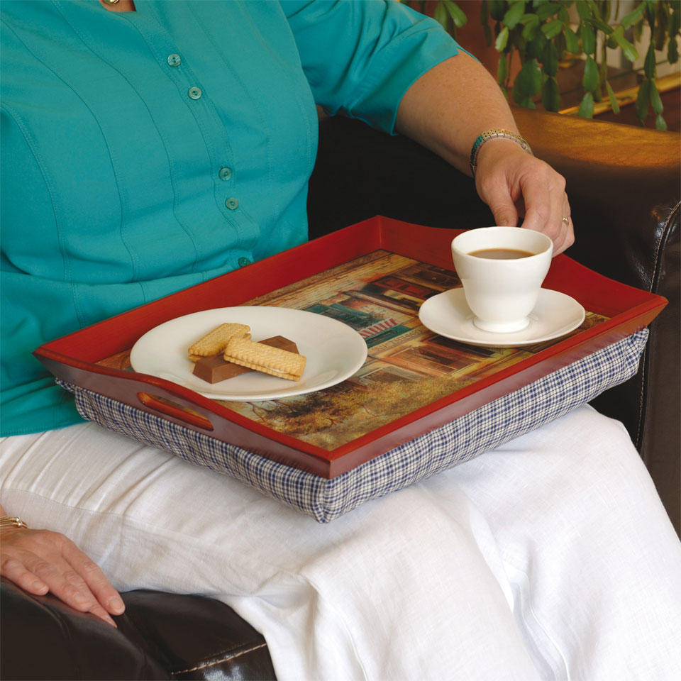 Image of Pair of French Cafe Scene Beanbag Lap Trays