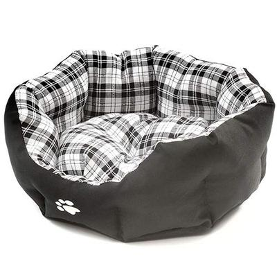 Large Black & White Tartan Cosy Pet Bed for Dogs/Cats