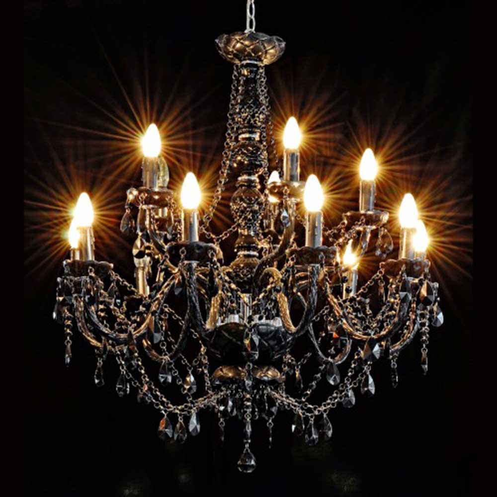 Fourteen Light Chandelier - Black
