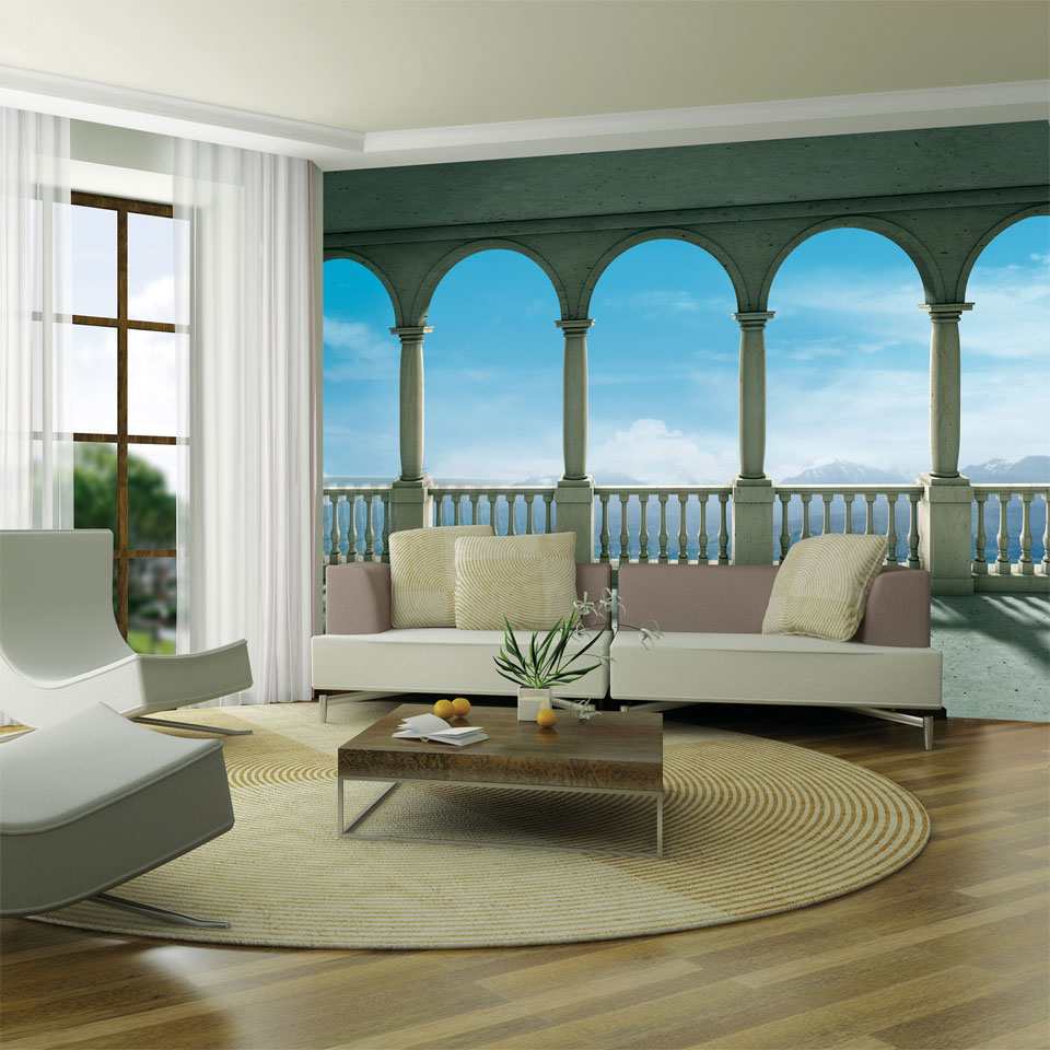 Tuscan Loggia Colonnade Wallpaper Mural