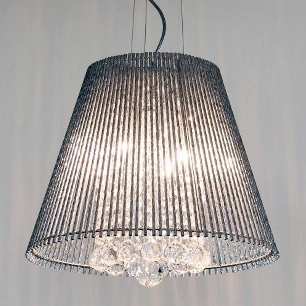 Conical Silver Tube Shade Chandelier (Medium)