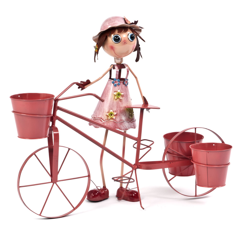 Honeysuckle Girl & Bicycle Triple Planter