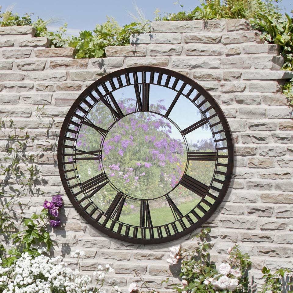 Bronze Roman Numeral Clock Garden Mirror