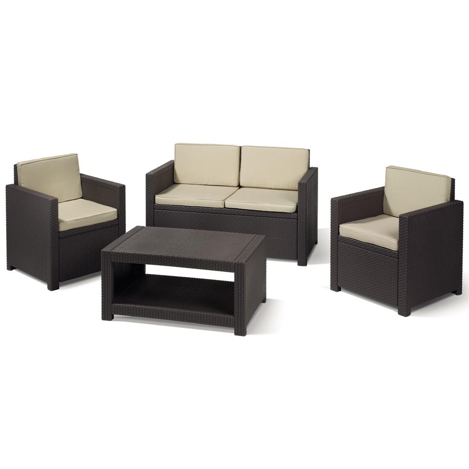 Allibert Monaco Brown Rattan Sofa Set