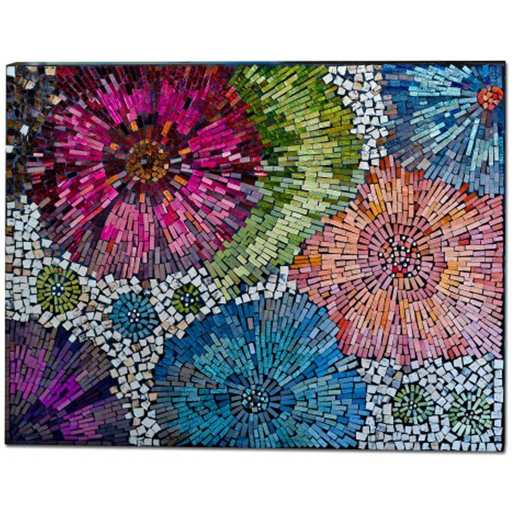Mosaic Glass Fire Works Flowers Wall Art