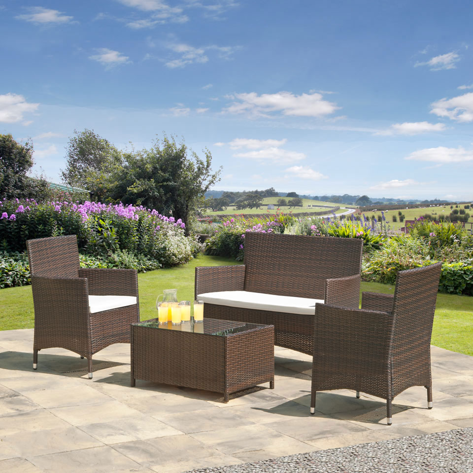 Suntime Madison Brown & Black Rattan Suite with Cream Cushions
