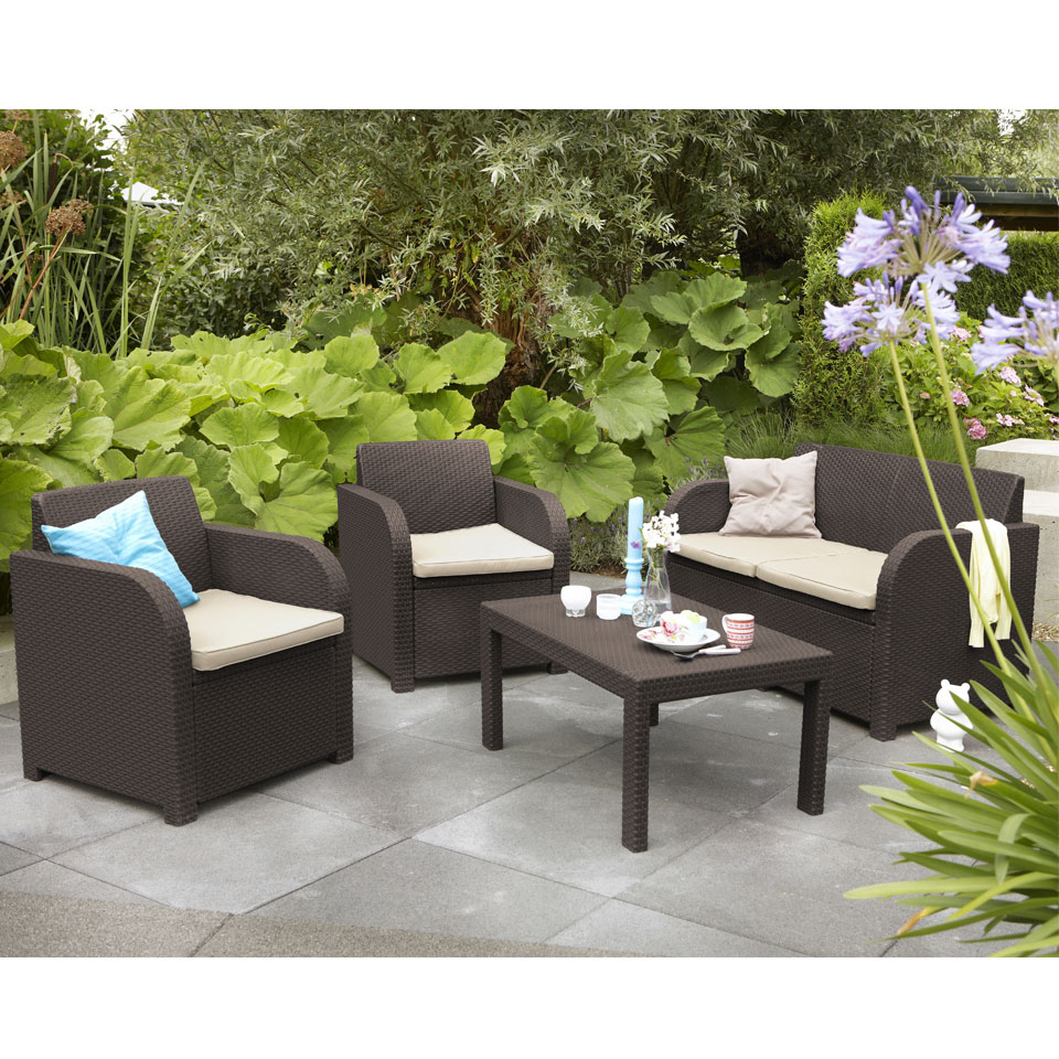 Allibert Montpellier Brown Rattan Garden Set with Cushions