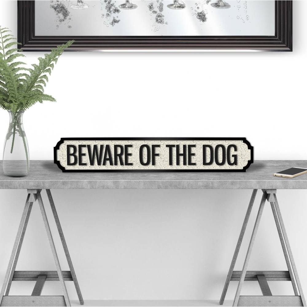 Image of Beware Of The Dog Vintage Road Sign / Street Sign