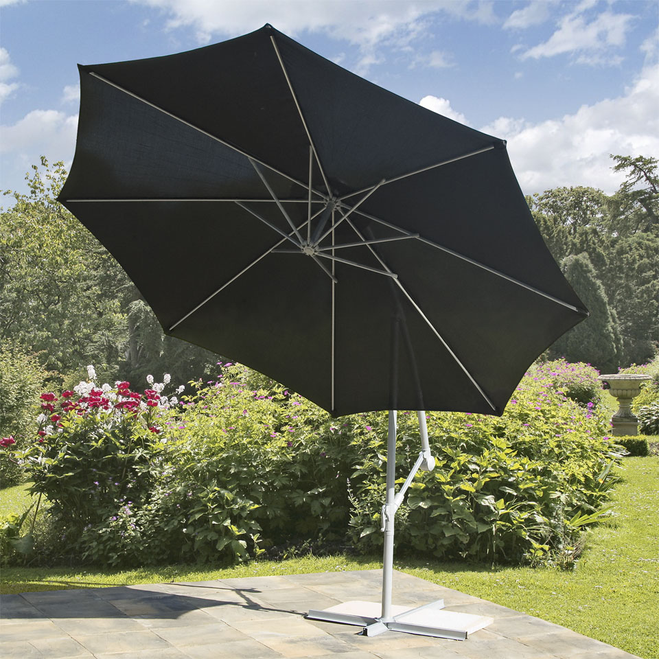 Suntime Black 3m Free Standing Cantilevered Hanging Parasol