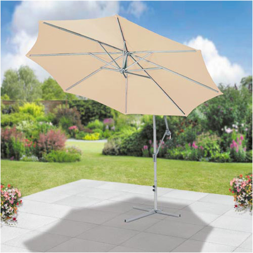 Suntime Ecru 3m Free Standing Cantilevered Hanging Parasol