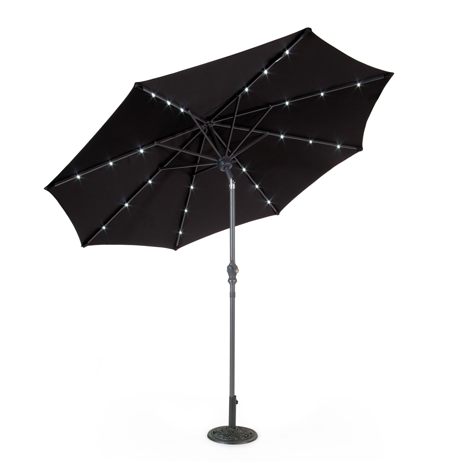 Suntime 2.7m Aluminium Bluetooth Speaker LED Black Parasol
