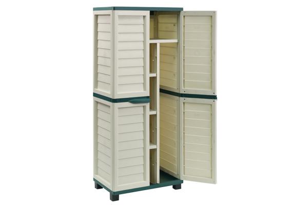 Green & Cream Tall Outdoor Storage Cabinet
