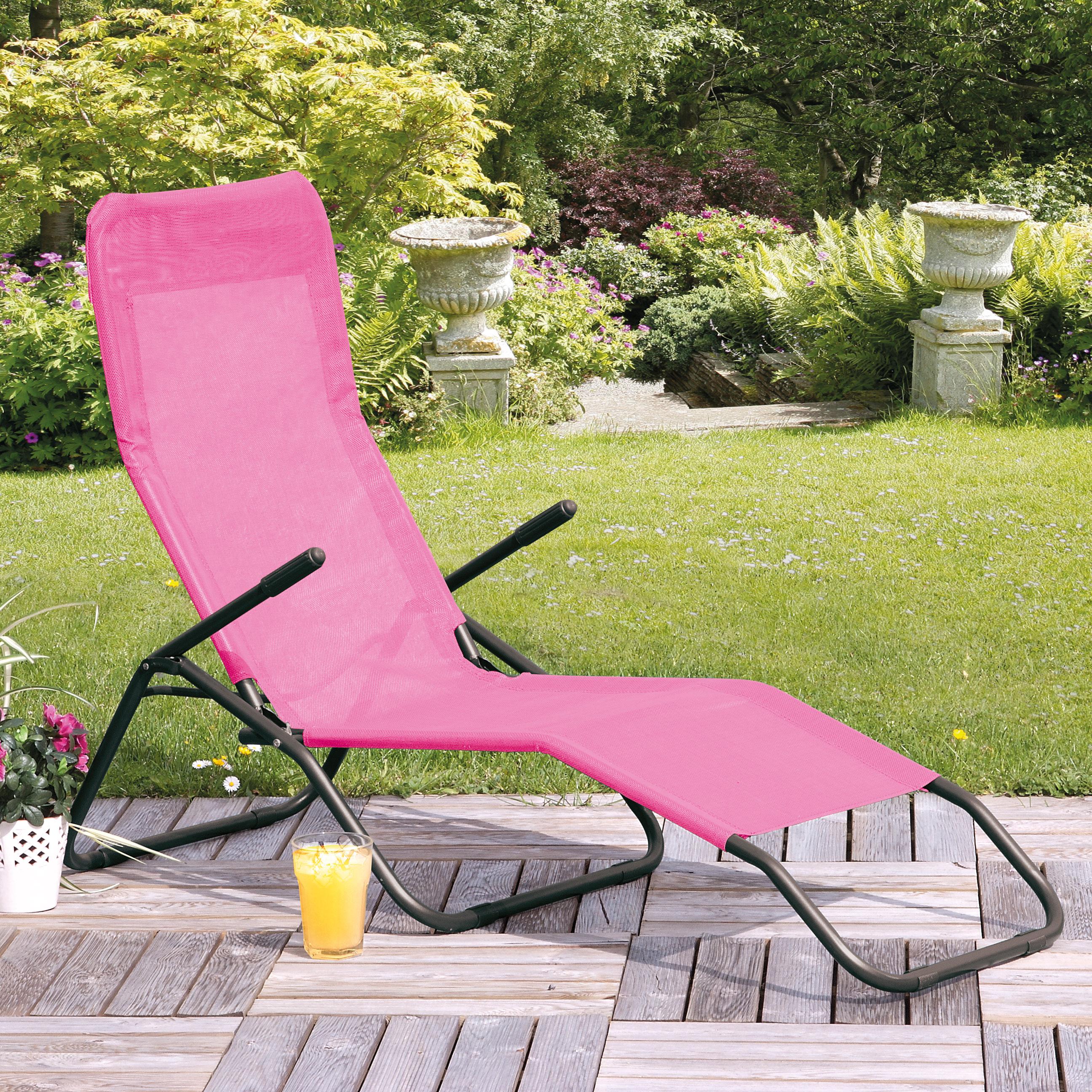 Siesta Pink Reclining Sunlounger