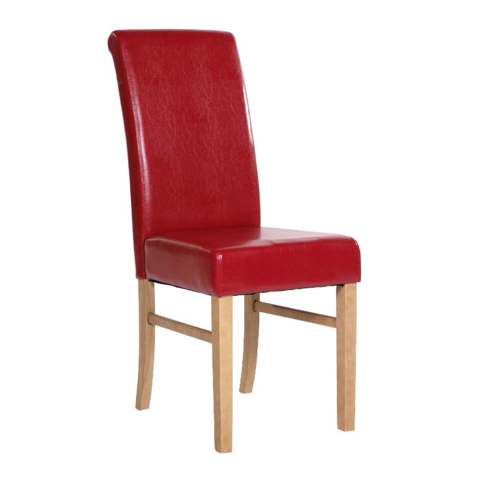 Pair of Cortez Upholstered Red Faux Leather Pine Chairs