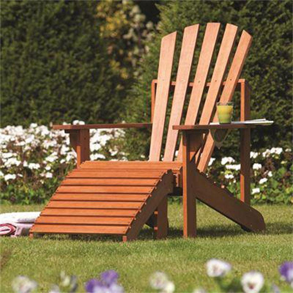 Westport Adirondack Hardwood Chair & Footrest