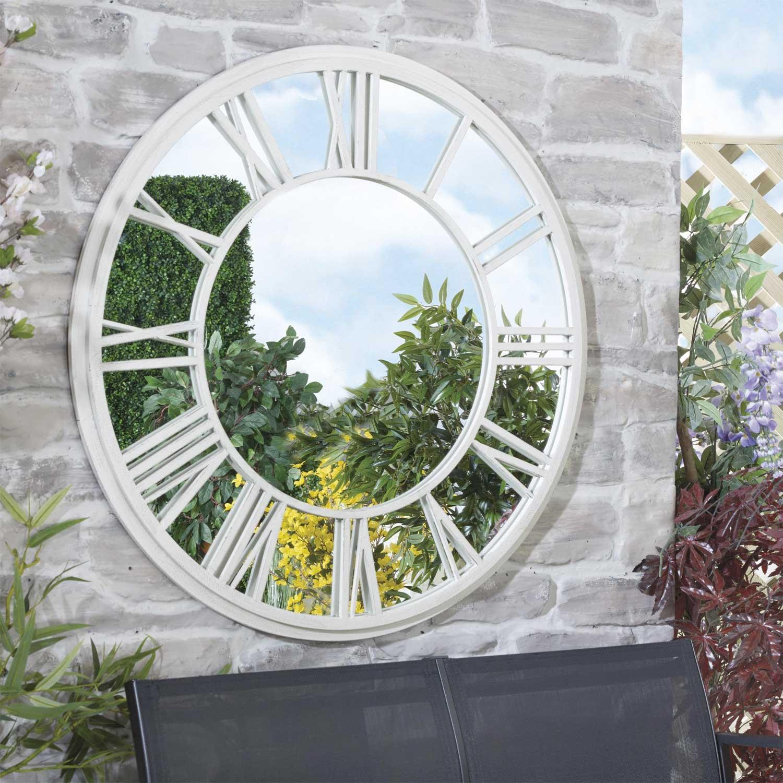 White Roman Numeral Clock Garden Mirror