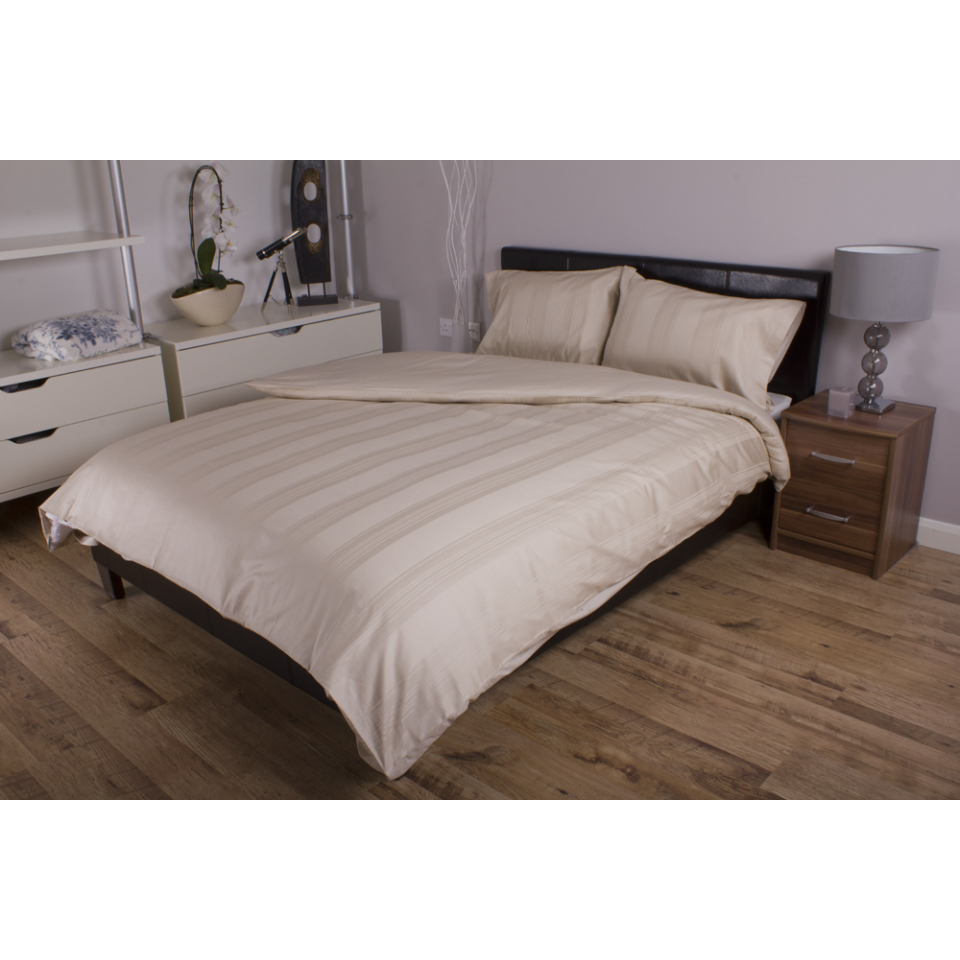 Deyongs 1846 300 Thread Count Sateen Stripe 100% Cotton Bed Sets Super King Pebble