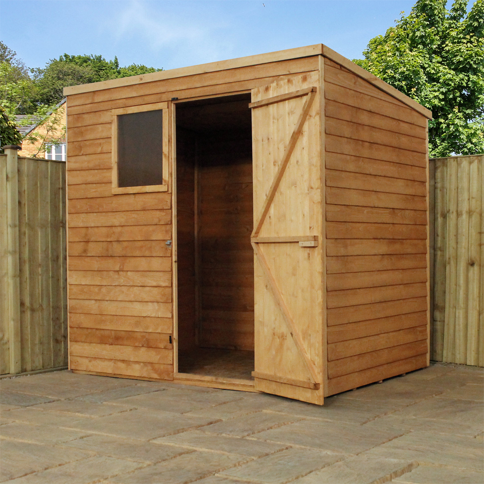 7ft x 5ft Overlap Pent Shed - Fully Erected