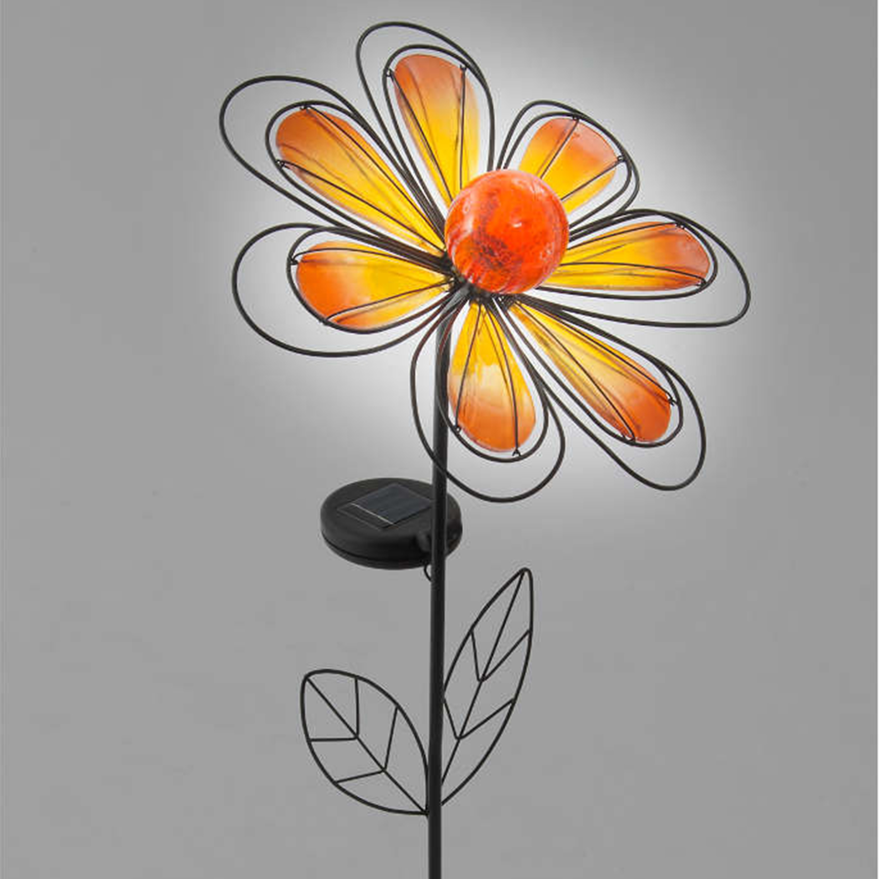 Gardens and Homes Direct Solar Flower Garden Stake - Orange