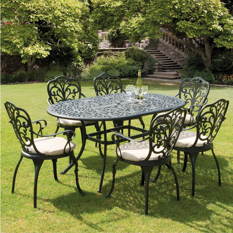 Sussex Black Cast Aluminium Seven Piece 1.5m Garden Dining Set