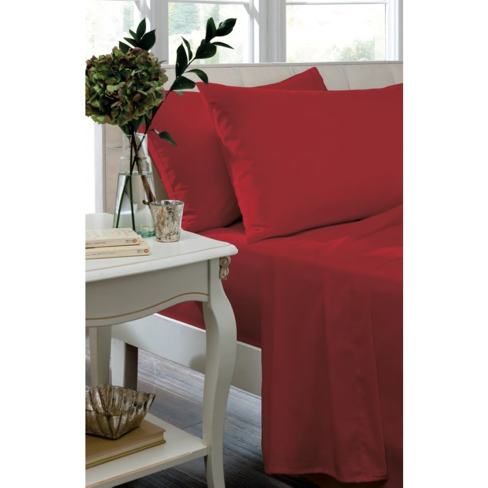 Catherine Lansfield Home Non Iron Percale Combed Polycotton Housewife Pillowcases RED
