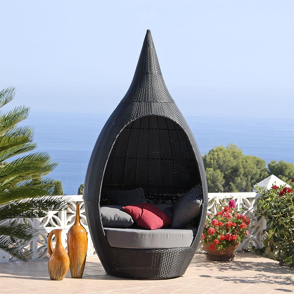 Suntime Amalfi Black Rattan Teardrop Seat