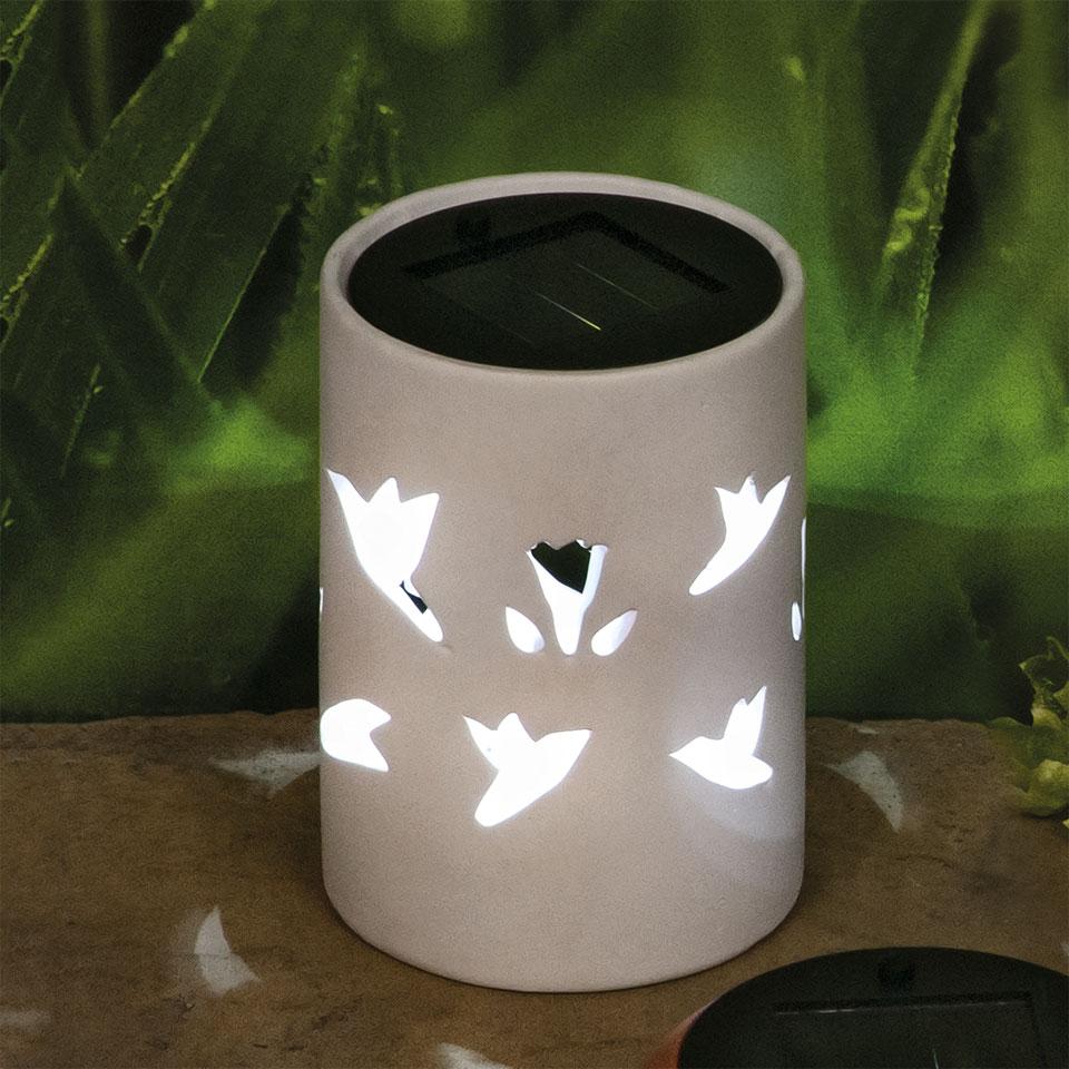 Garden Glows Solar Powered White Ceramic Garden & Table Light