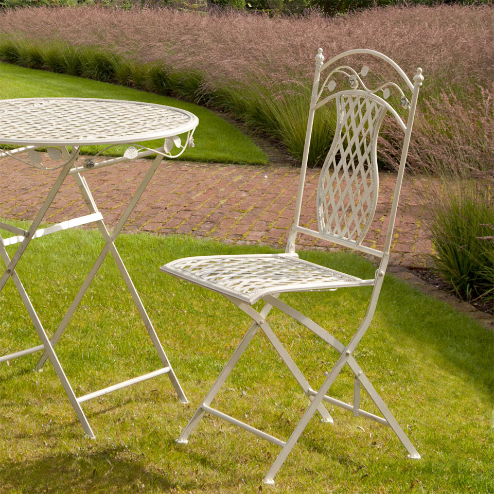 Pair of Lorraine Antique French Style Folding Cast Iron Chairs