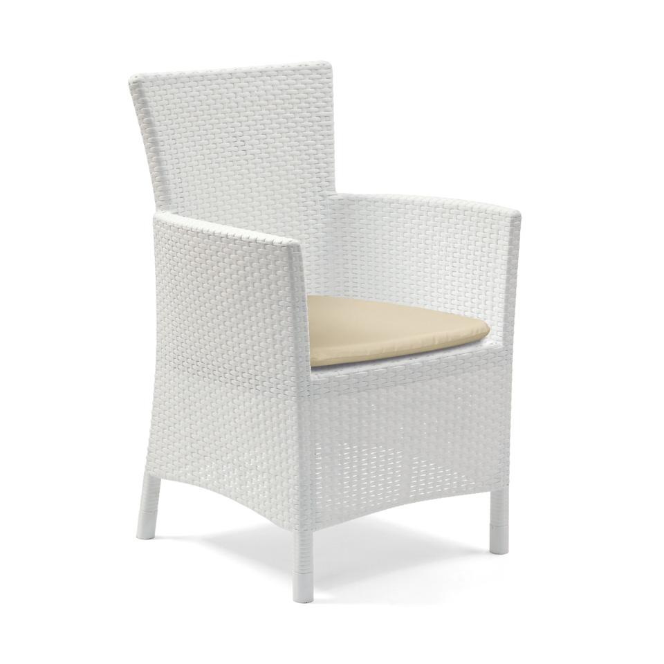 Allibert Iowa White Rattan Dining Chair & Cushion
